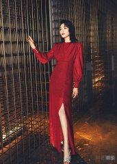 刘涛拍复古港风大片 穿高开叉红裙优雅大气